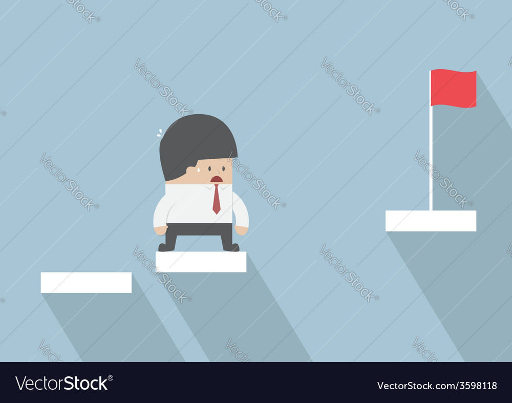 Businessman facing with the missing step to succes vector | Price: 1 Credit (USD $1)