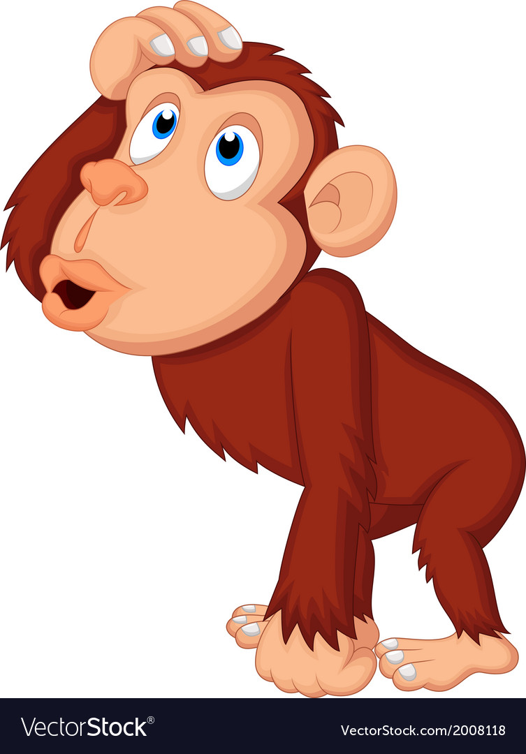 Chimpanzee cartoon thinking vector | Price: 1 Credit (USD $1)