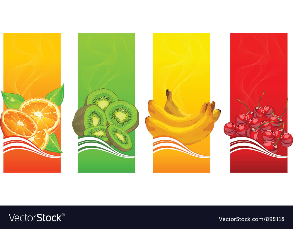 Four coloured fruits background vector | Price: 3 Credit (USD $3)
