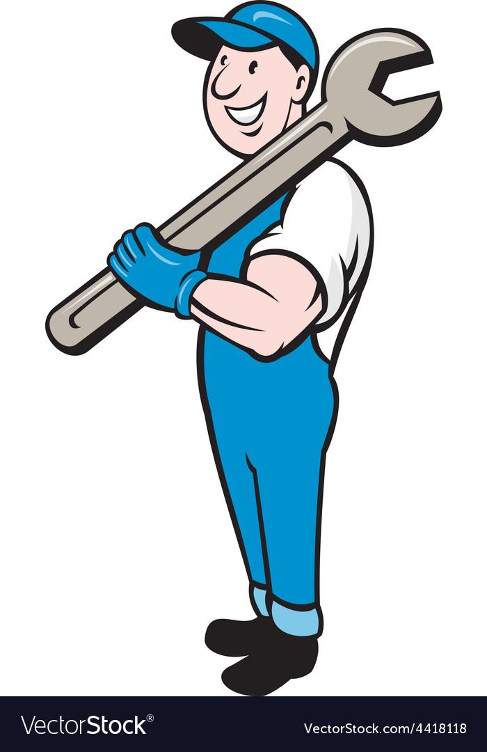Mechanic smiling spanner standing cartoon vector | Price: 1 Credit (USD $1)
