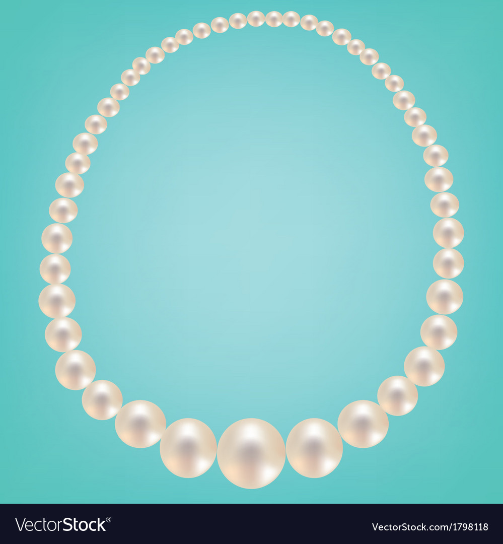 Pearl necklace on turquoise background vector | Price: 1 Credit (USD $1)