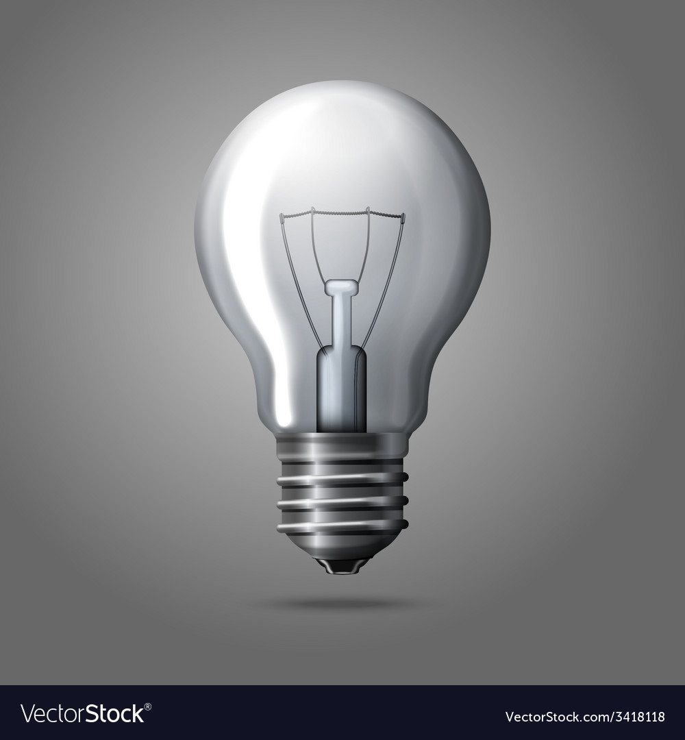 Realistic light bulb isolated on grey background vector | Price: 1 Credit (USD $1)