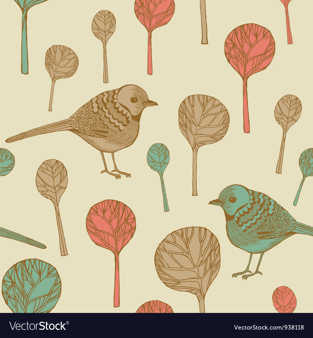 Retro birds pattern vector | Price: 1 Credit (USD $1)