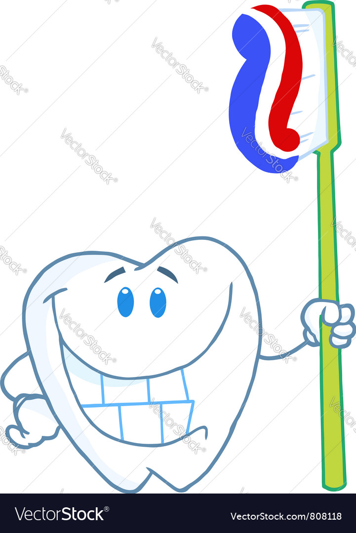 Smiling tooth cartoon character with toothbrush vector | Price: 1 Credit (USD $1)