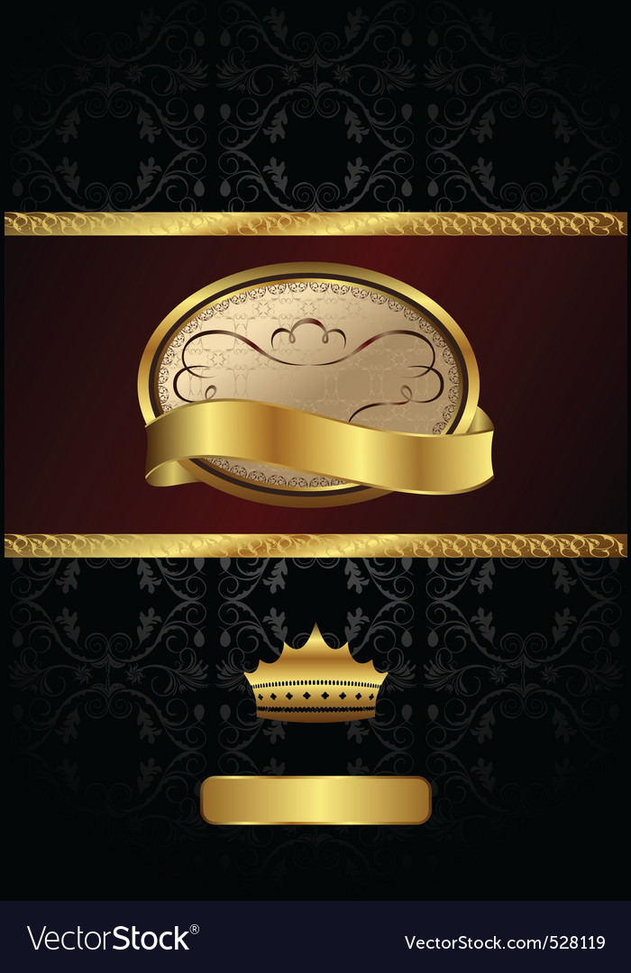 Background with golden luxury label and crown vector | Price: 1 Credit (USD $1)