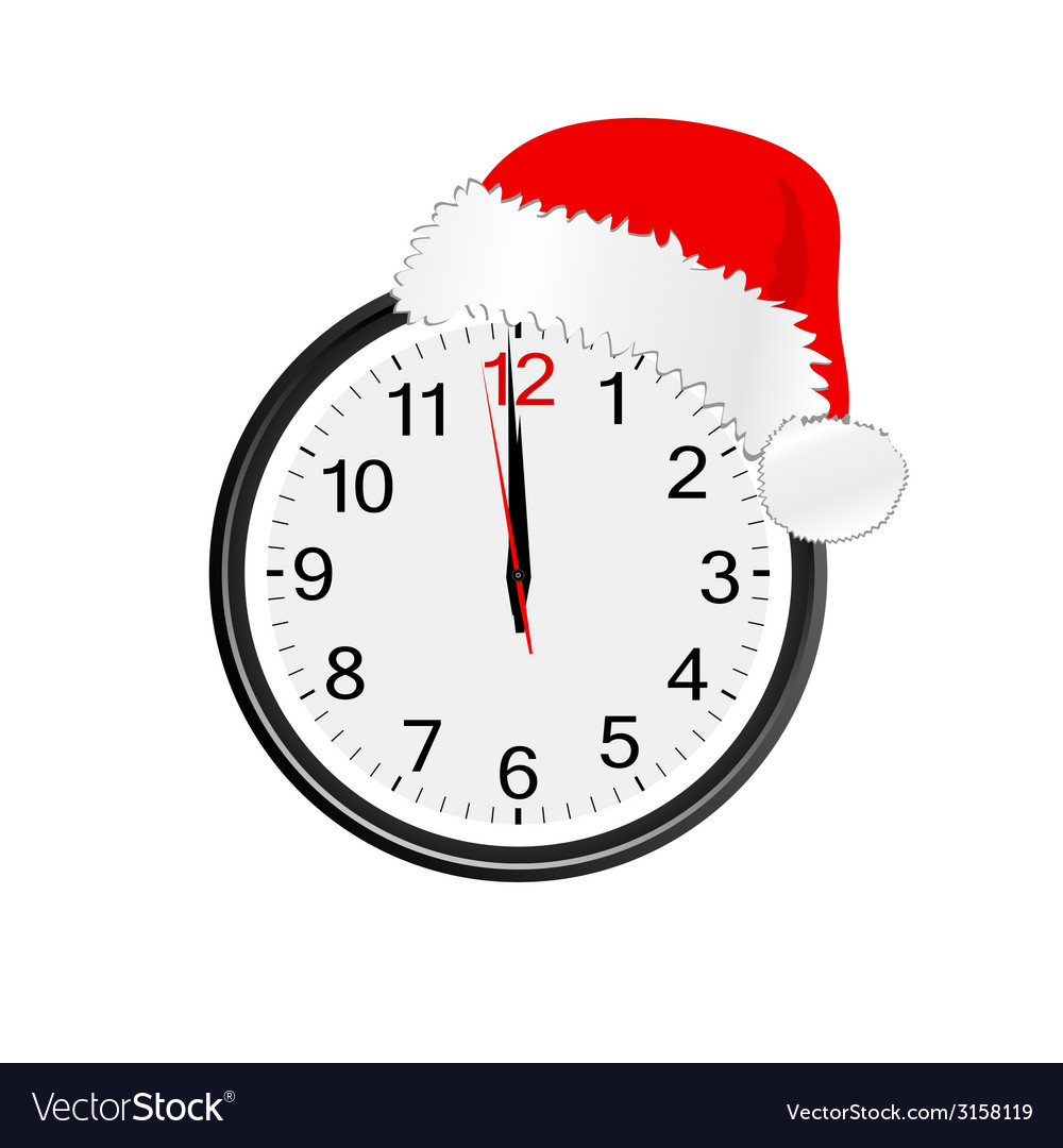 Christmas red hat on clock vector | Price: 1 Credit (USD $1)