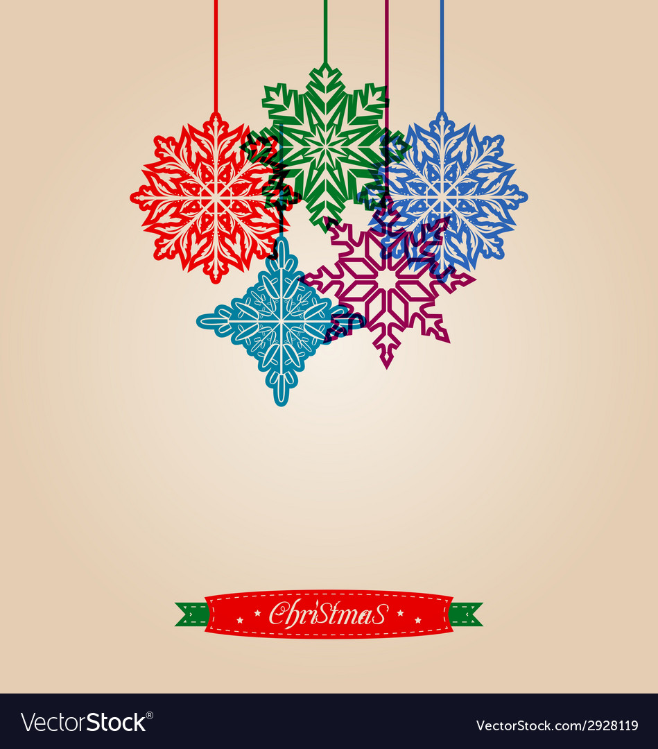 Christmas vintage card with snowflakes vector | Price: 1 Credit (USD $1)