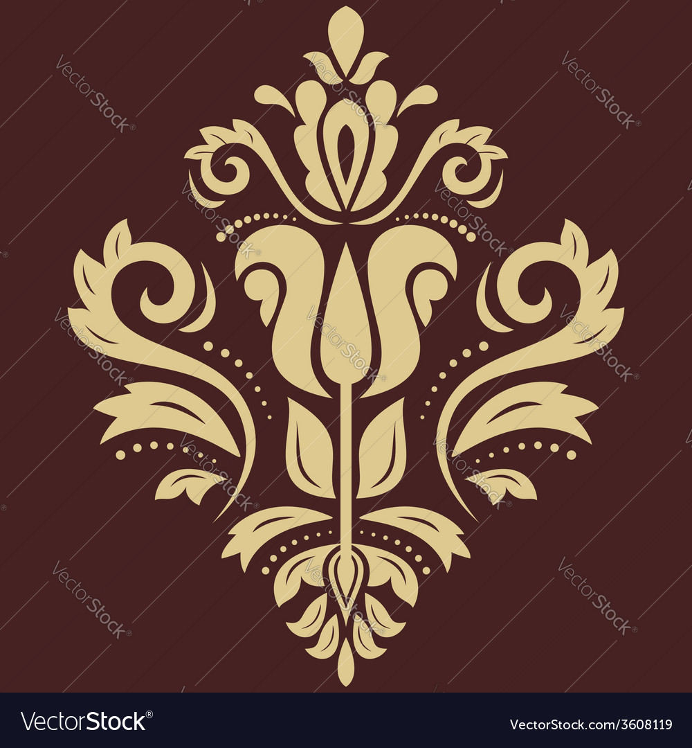 Damask pattern golden ornament vector | Price: 1 Credit (USD $1)