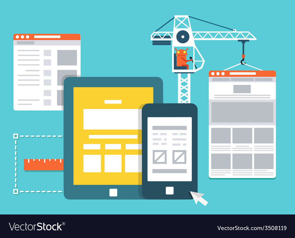 Development skeleton framework of a website vector | Price: 1 Credit (USD $1)