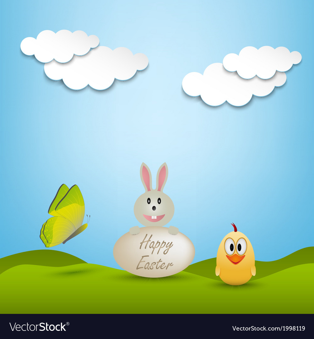 Easter greeting card with animals vector | Price: 1 Credit (USD $1)