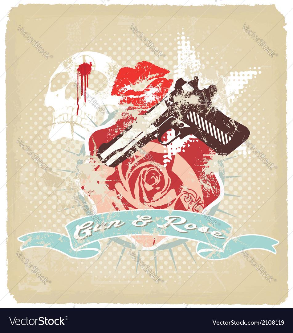 Gun rose vector   Price: 3 Credit (USD $3)