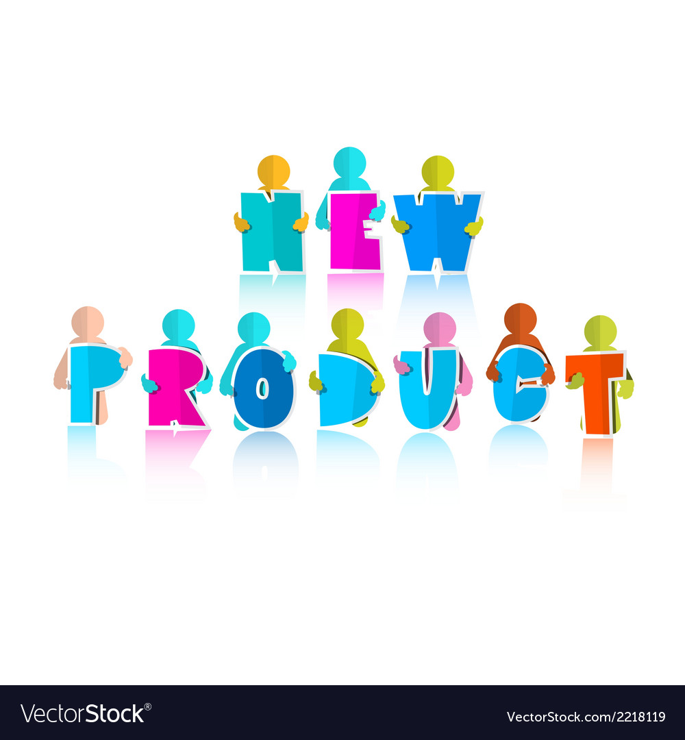 New product title with paper cut people vector | Price: 1 Credit (USD $1)