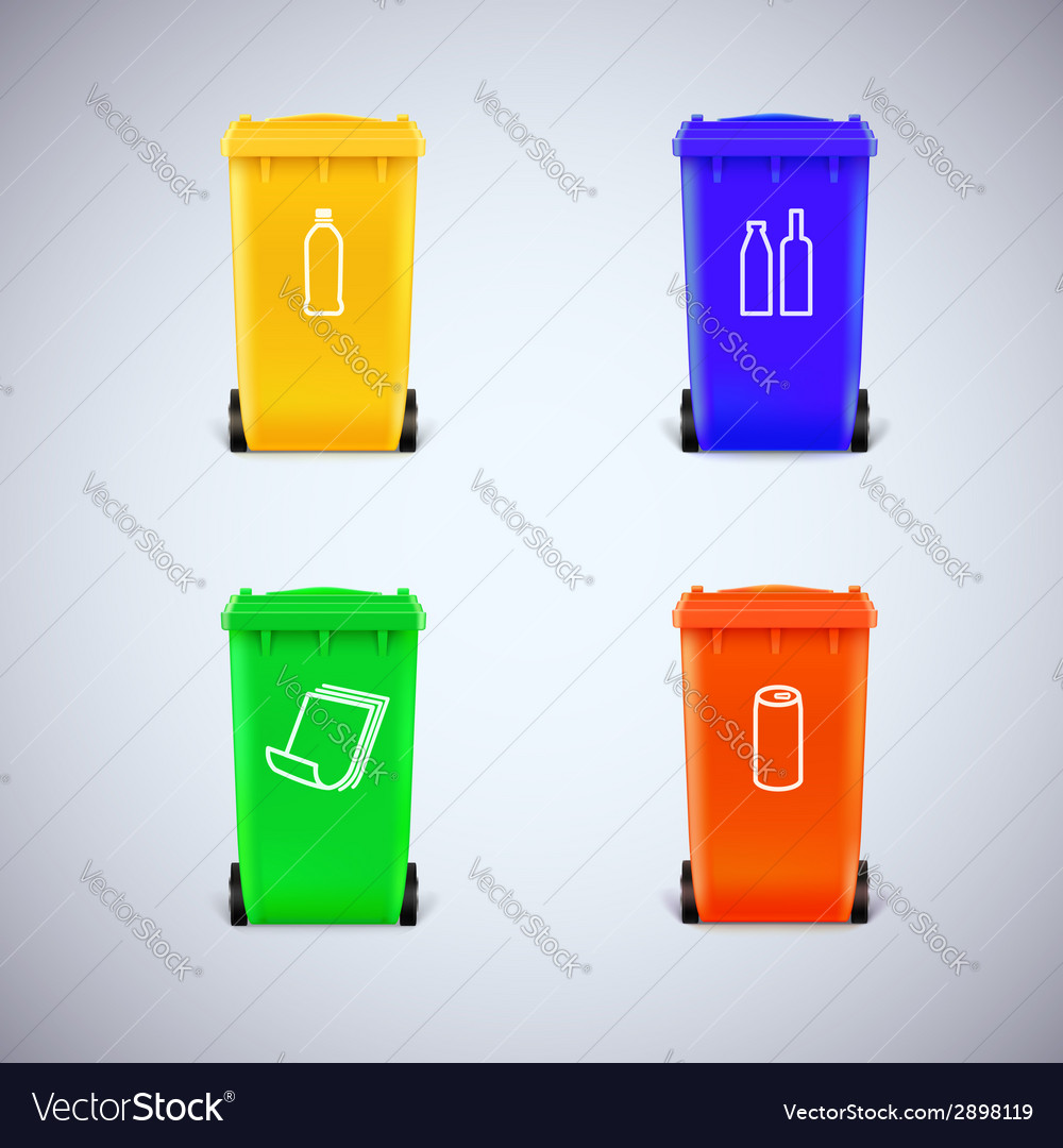 Recycle bins with the symbols vector | Price: 1 Credit (USD $1)