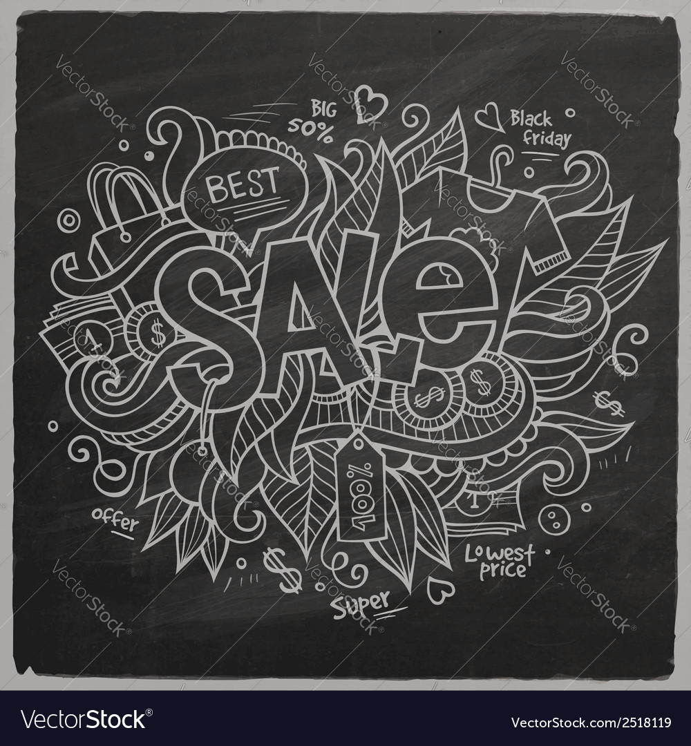Sale hand lettering on chalkboard vector | Price: 1 Credit (USD $1)