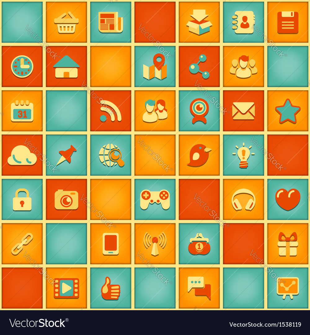 Square pattern of social media in retro colors vector | Price: 1 Credit (USD $1)