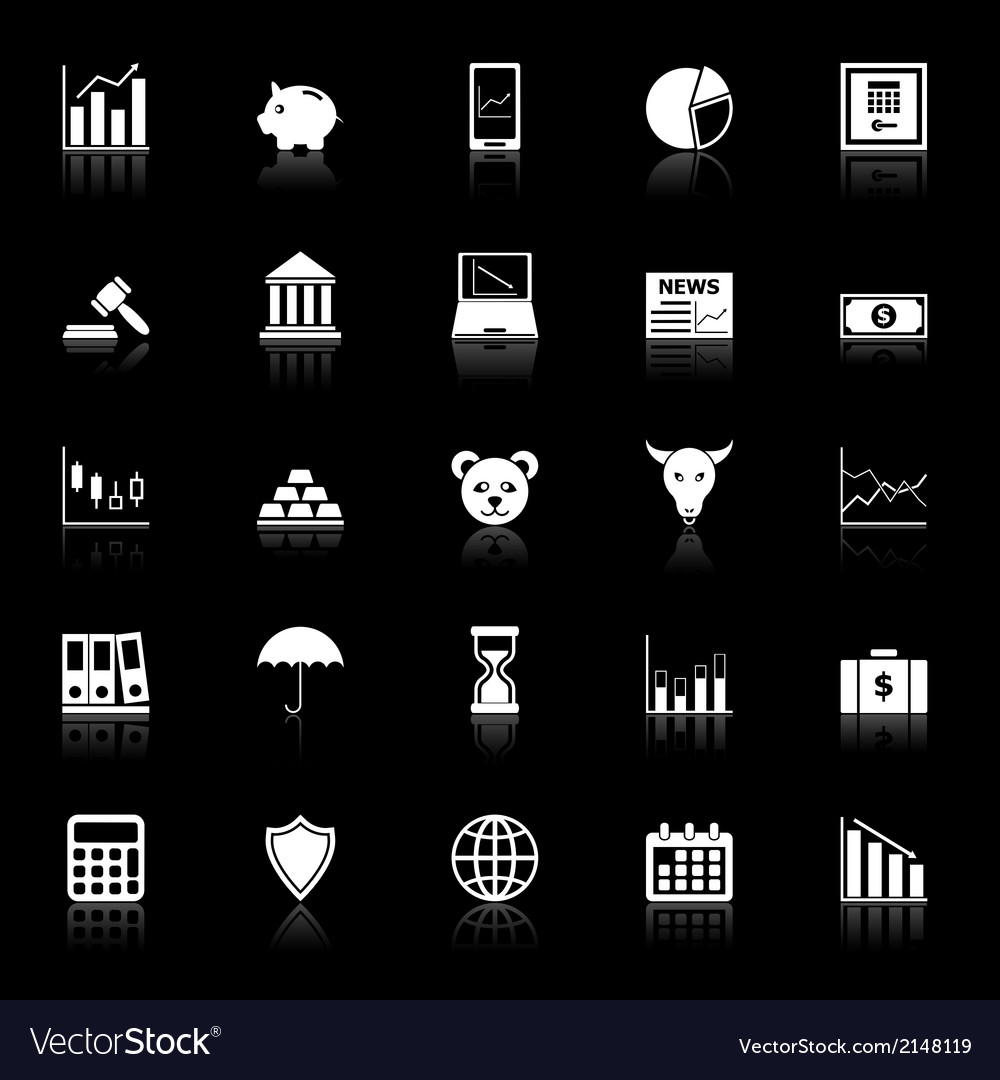 Stock market icons with reflect on black vector | Price: 1 Credit (USD $1)