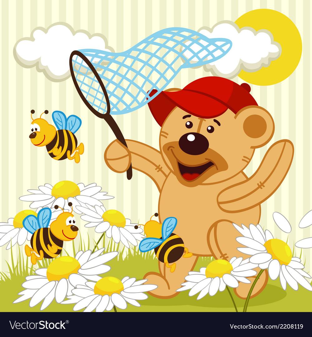 Teddy bear catching bee vector | Price: 3 Credit (USD $3)