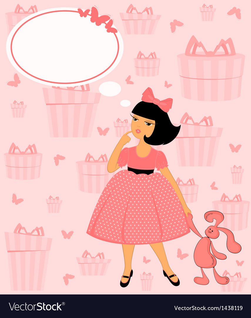 Young vintage girl vector | Price: 1 Credit (USD $1)