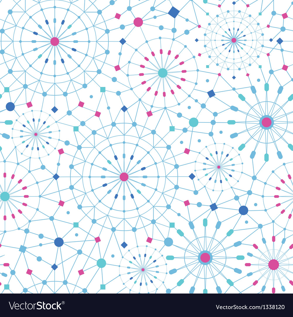 Blue abstract line art circles seamless pattern vector | Price: 1 Credit (USD $1)
