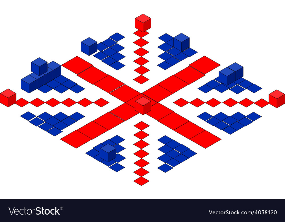 British flag made of cubes vector   Price: 1 Credit (USD $1)