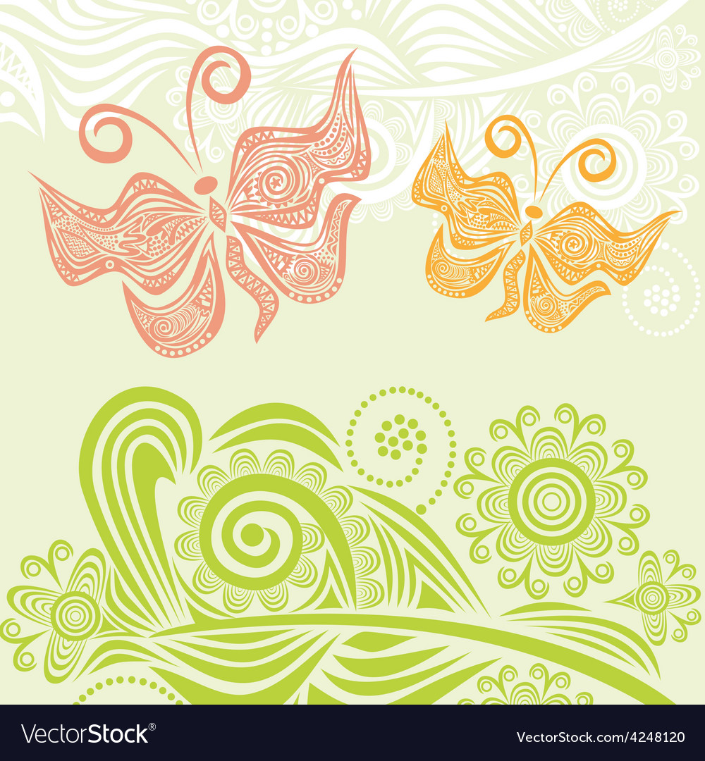 Butterflies and nature pattern backgroun vector | Price: 1 Credit (USD $1)