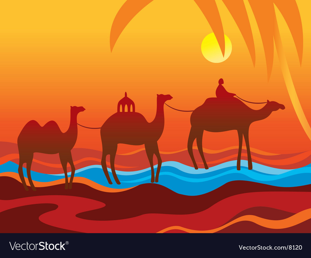 Camels oasis vector | Price: 1 Credit (USD $1)