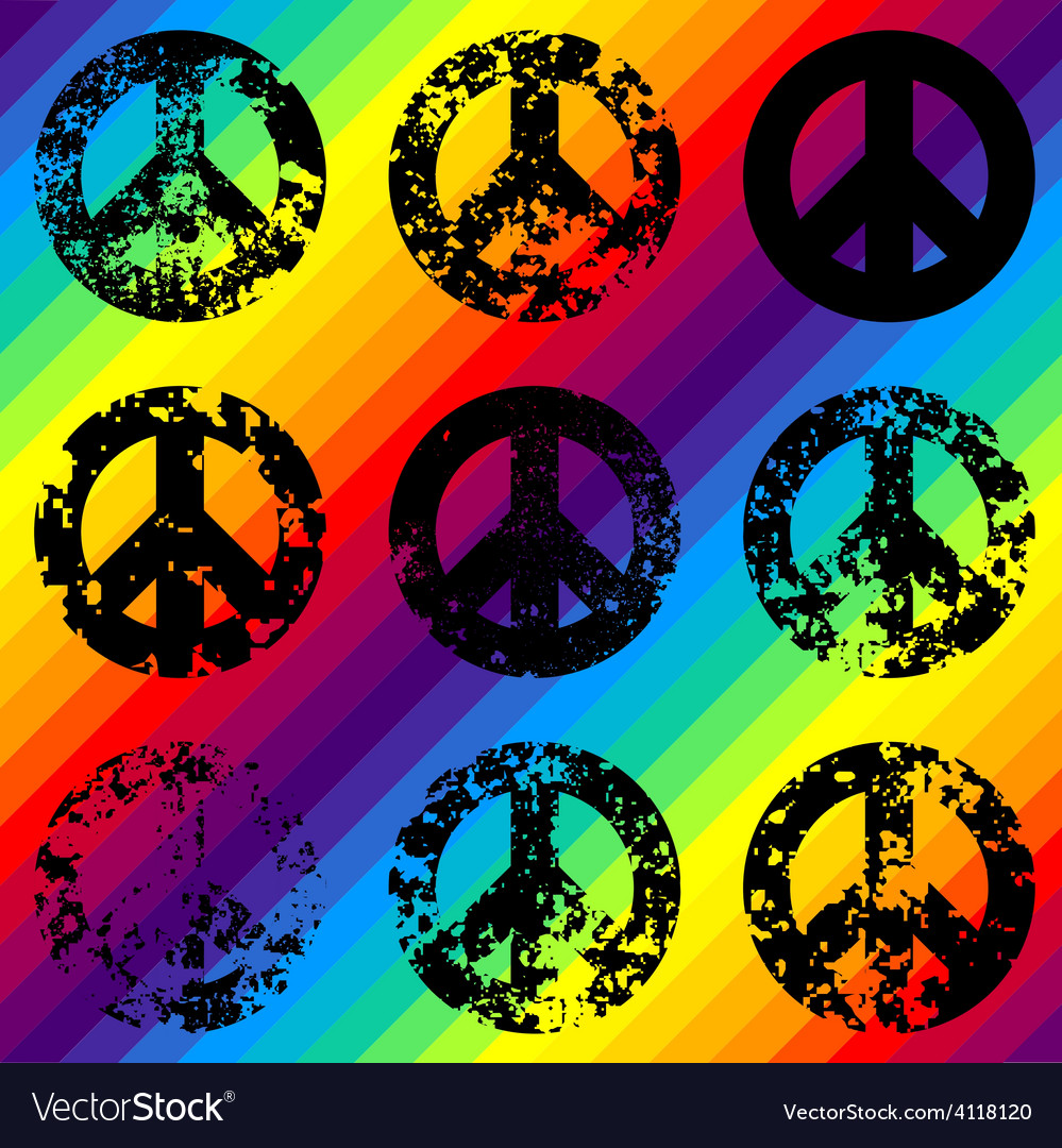 Grunge black signs of pacific on rainbow vector | Price: 1 Credit (USD $1)