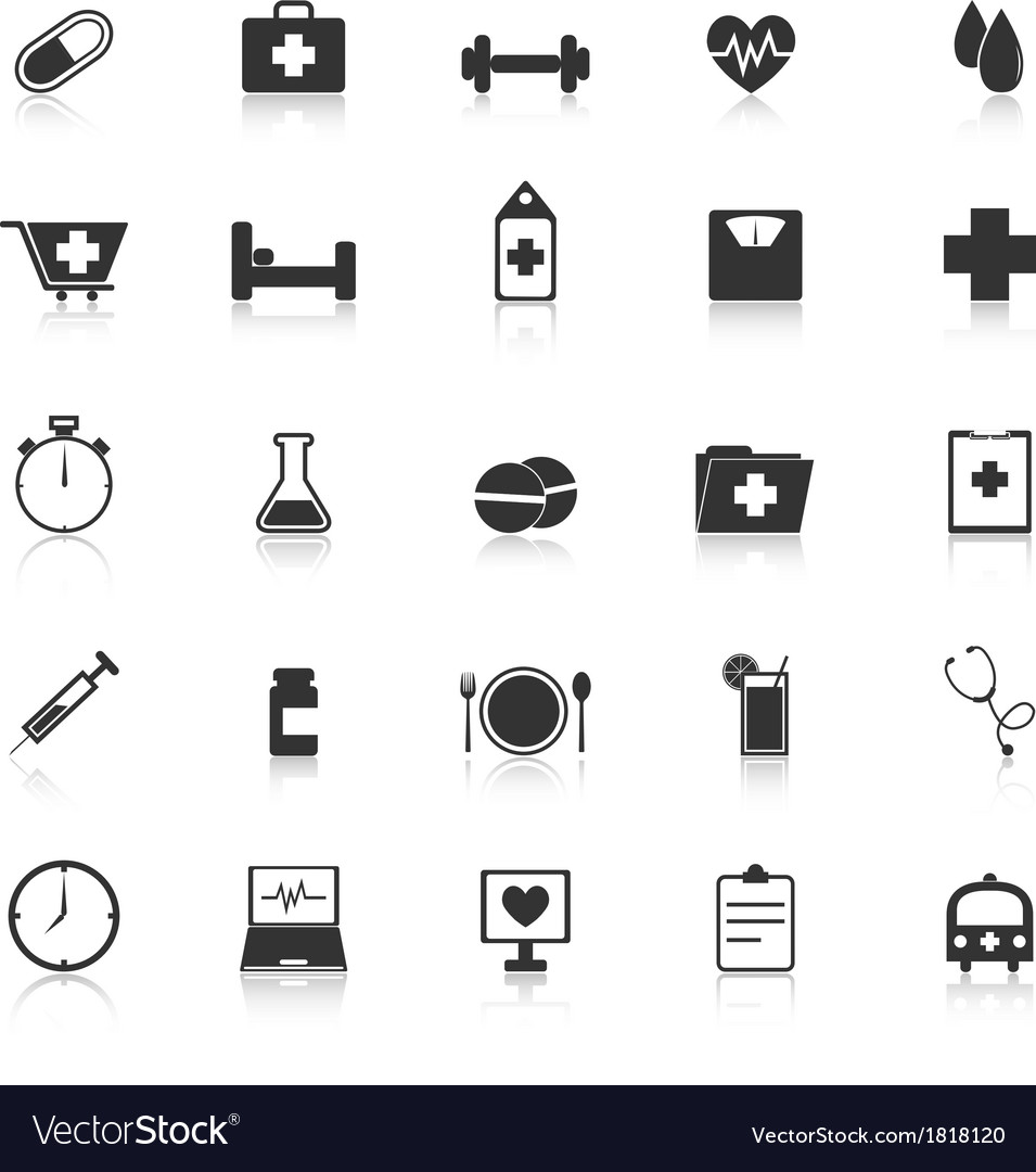 Health icons with reflect on white background vector | Price: 1 Credit (USD $1)