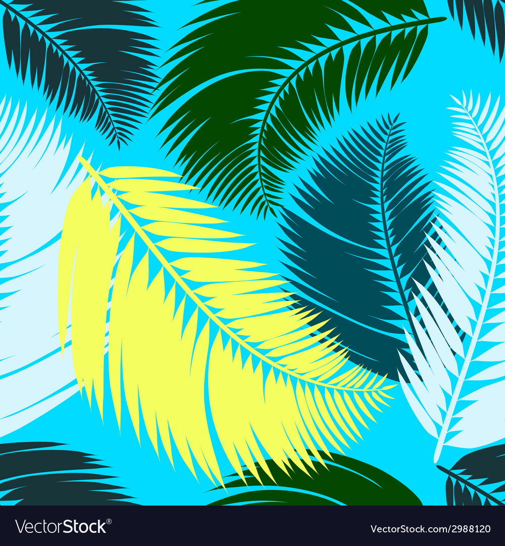Multicolour palm leaves seamless pattern vector | Price: 1 Credit (USD $1)