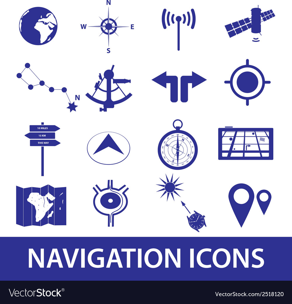 Navigation icons set eps10 vector | Price: 1 Credit (USD $1)