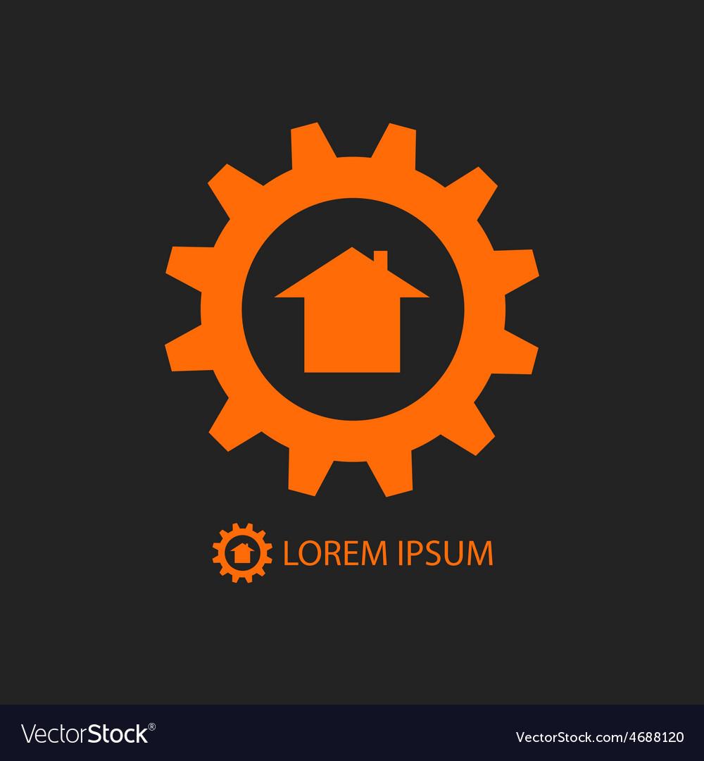 Orange construction company logo vector | Price: 1 Credit (USD $1)