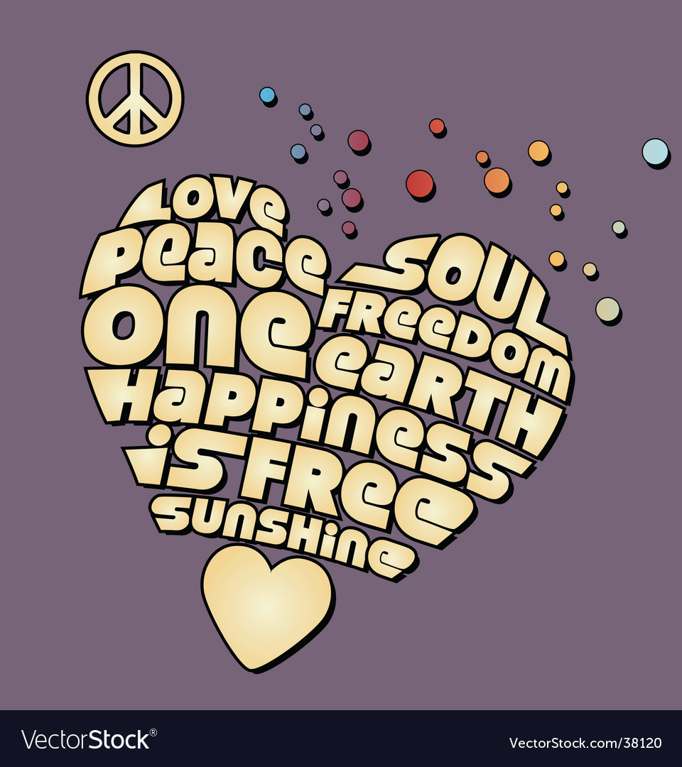Peace heart graphic vector | Price: 1 Credit (USD $1)