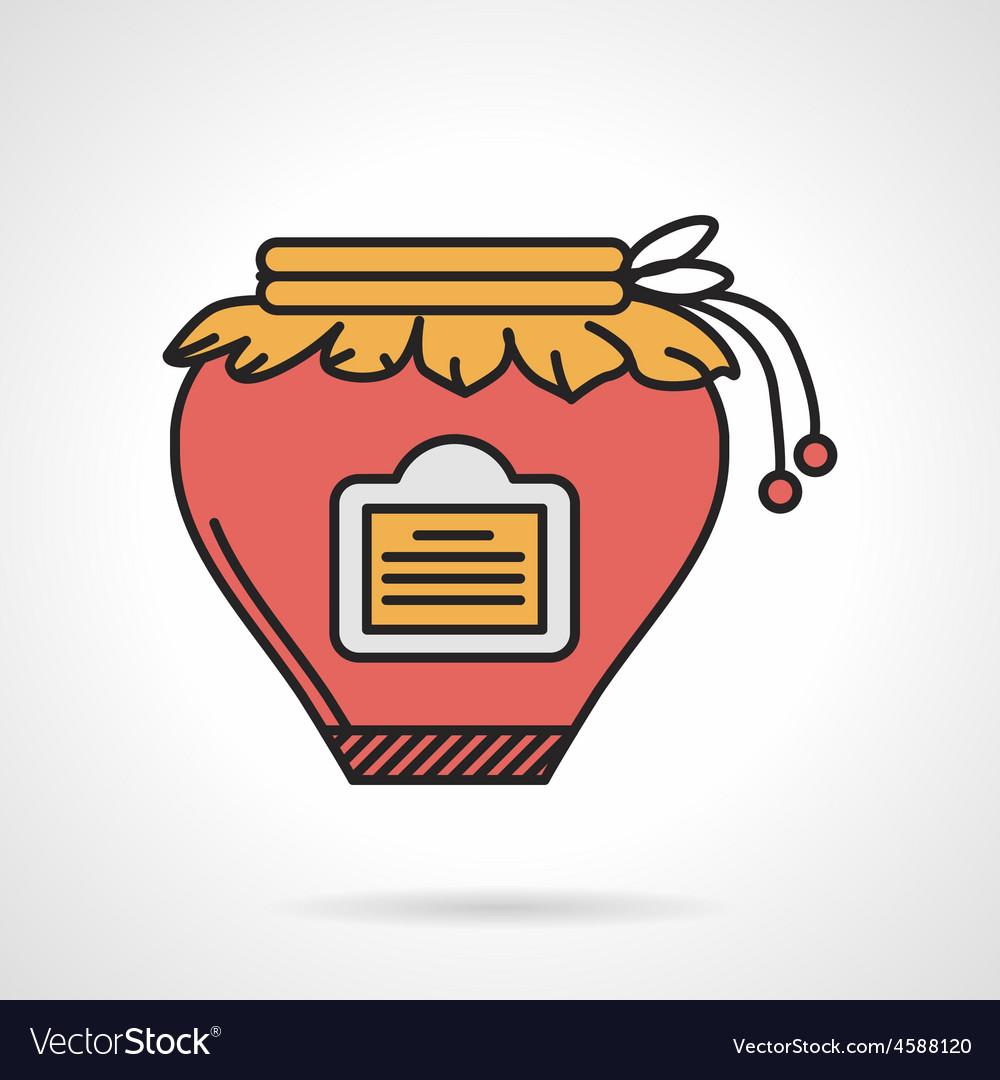 Red jam jar flat icon vector | Price: 1 Credit (USD $1)