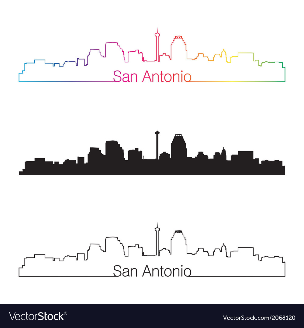 San antonio skyline linear style with rainbow vector | Price: 1 Credit (USD $1)