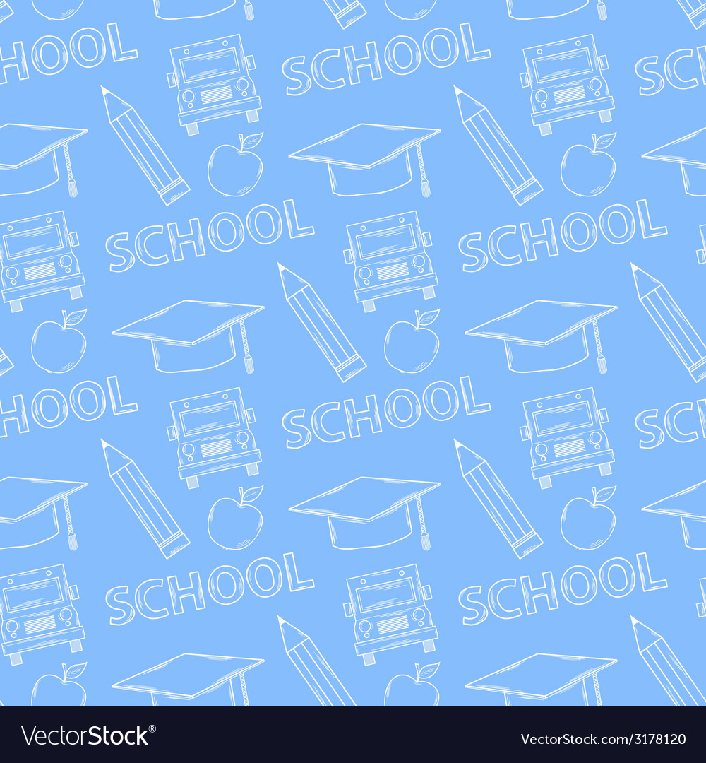 School seamless pattern on a blue background vector | Price: 1 Credit (USD $1)