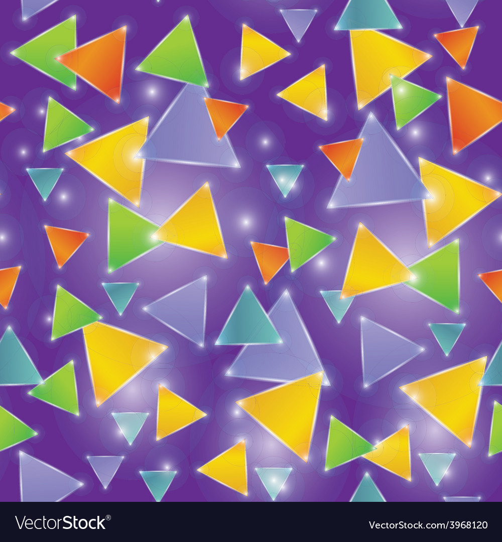 Seamless pattern glowing triangles on a purple vector | Price: 1 Credit (USD $1)