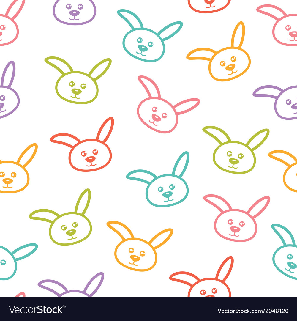 Seamless pattern with colorful bunnies vector | Price: 1 Credit (USD $1)