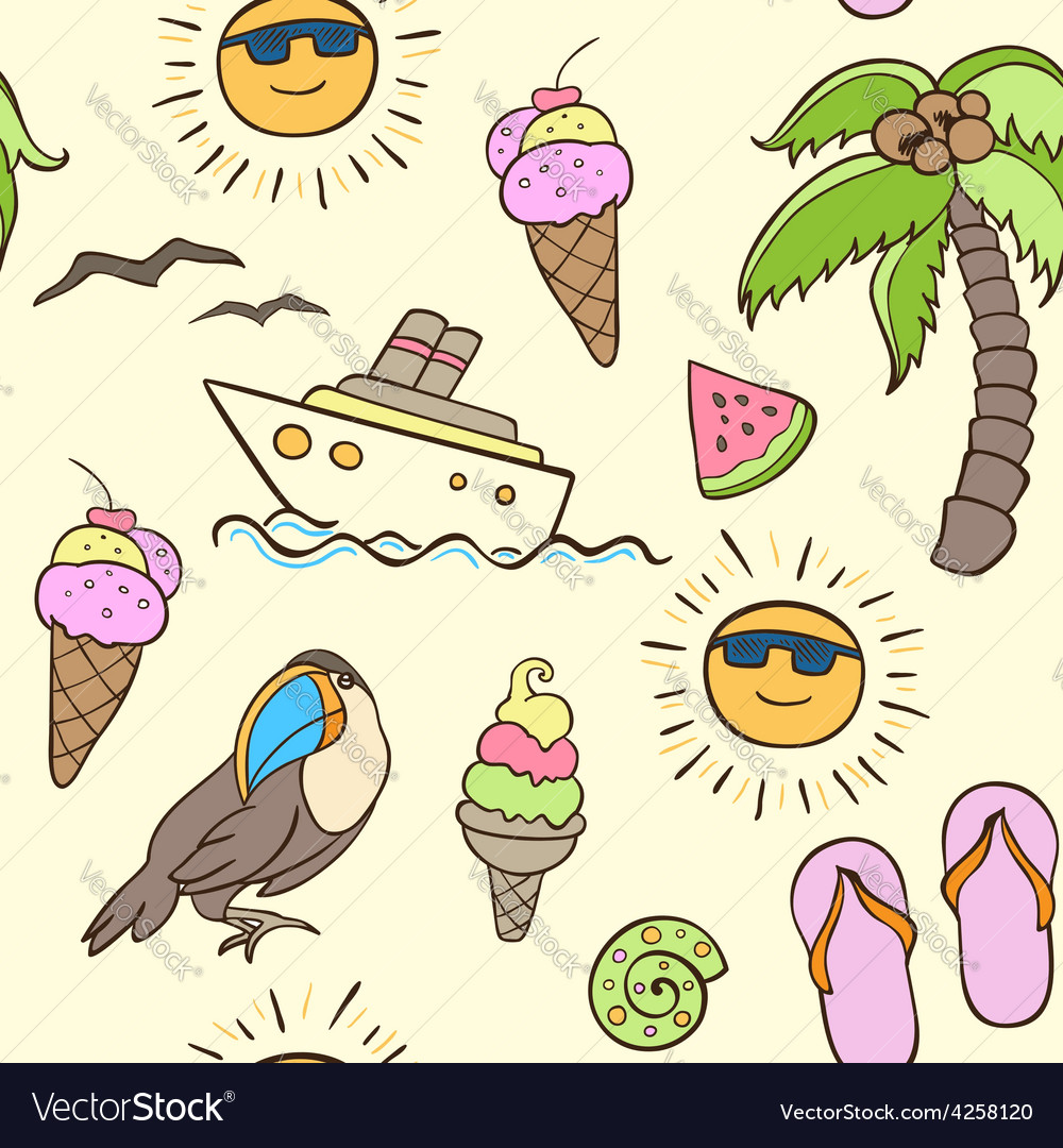 Seamless pattern with palm and boat vector | Price: 1 Credit (USD $1)