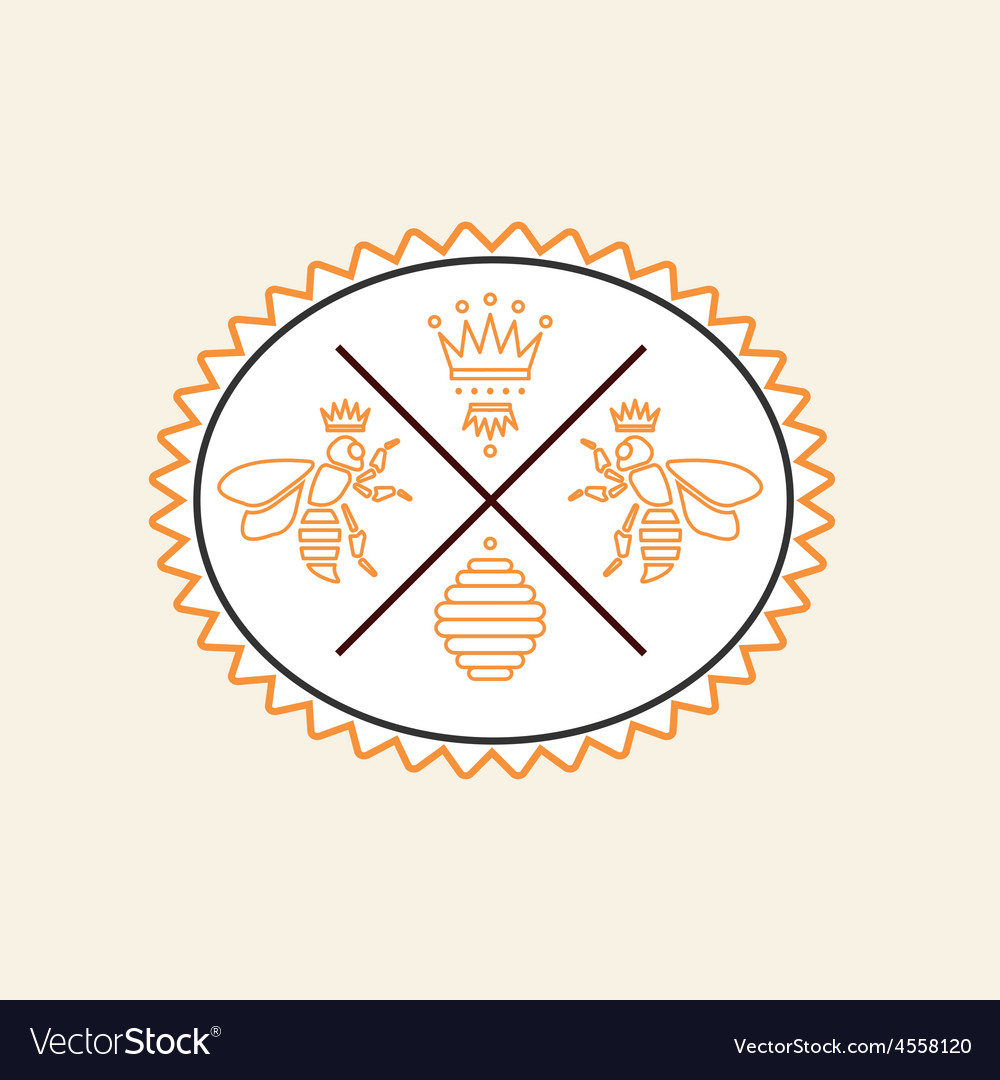 Set of honey and bees labels badges vector | Price: 1 Credit (USD $1)