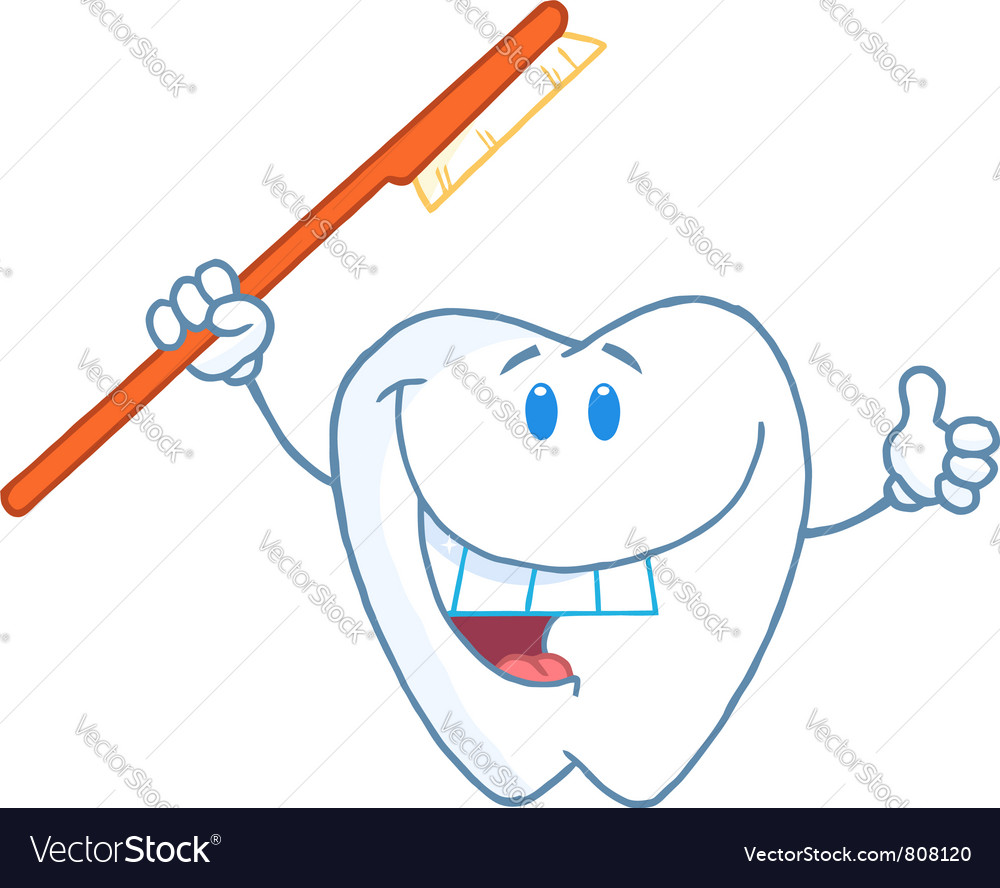 Smiling tooth with toothbrush vector | Price: 1 Credit (USD $1)