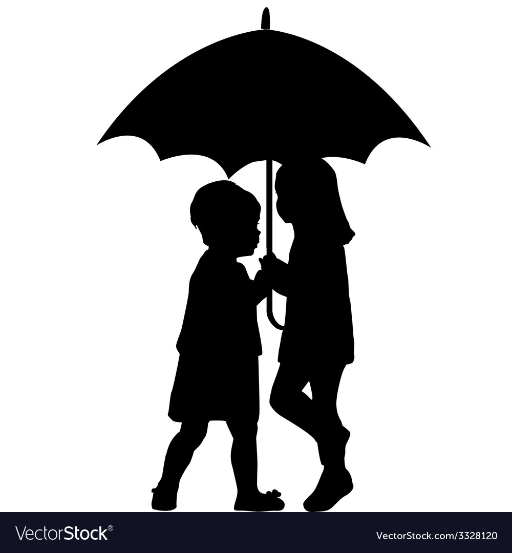 Two little girls under an umbrella vector | Price: 1 Credit (USD $1)