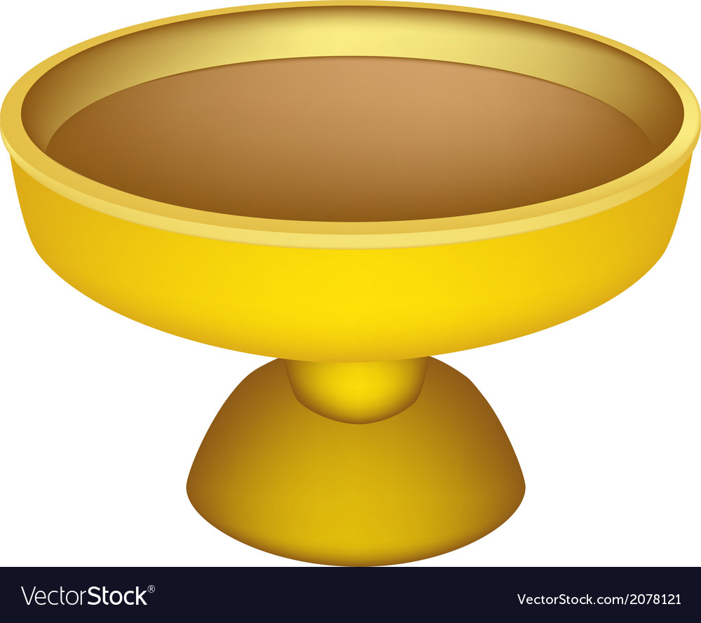 A golden tray with pedestal on white background vector | Price: 1 Credit (USD $1)
