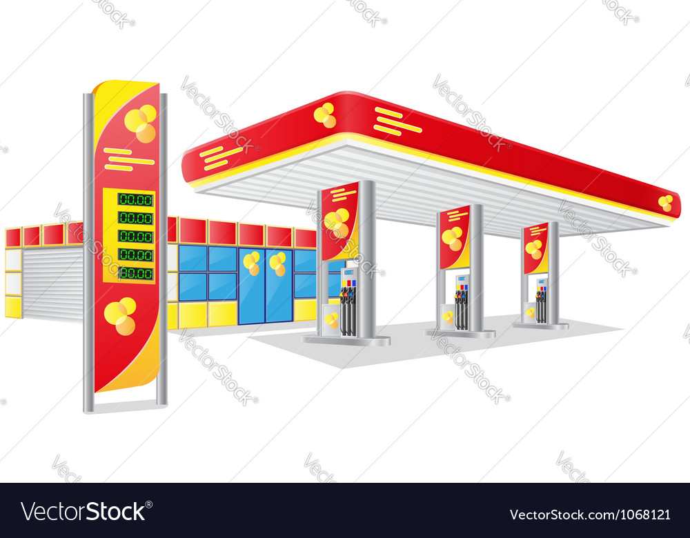 Car petrol station vector | Price: 1 Credit (USD $1)