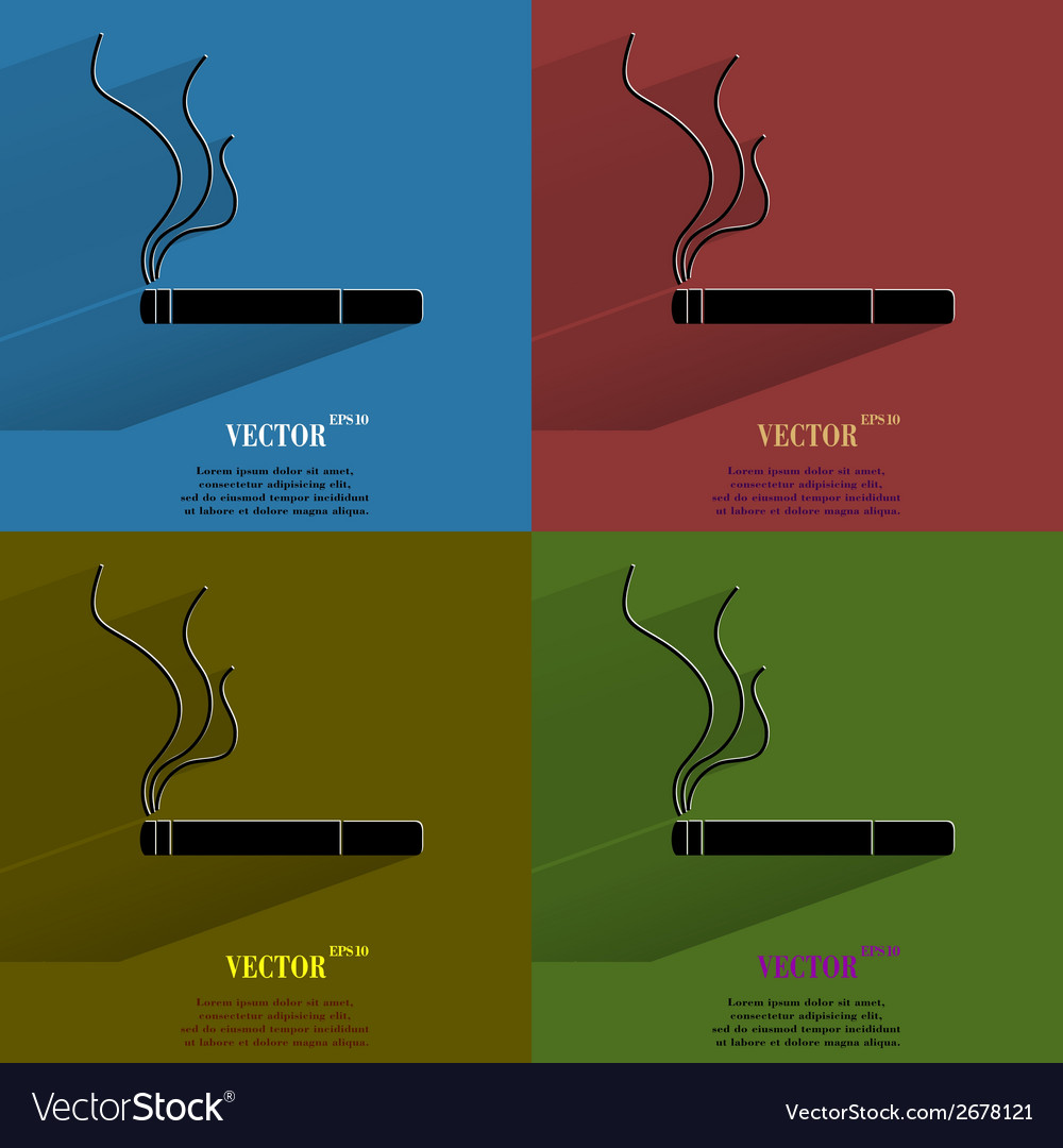 Color set smoking sign cigarette flat modern web vector | Price: 1 Credit (USD $1)