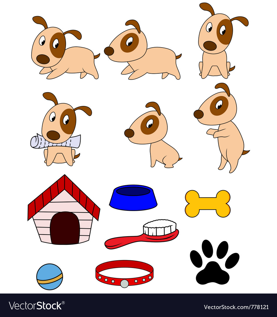 Dog cartoon and stuff vector | Price: 3 Credit (USD $3)
