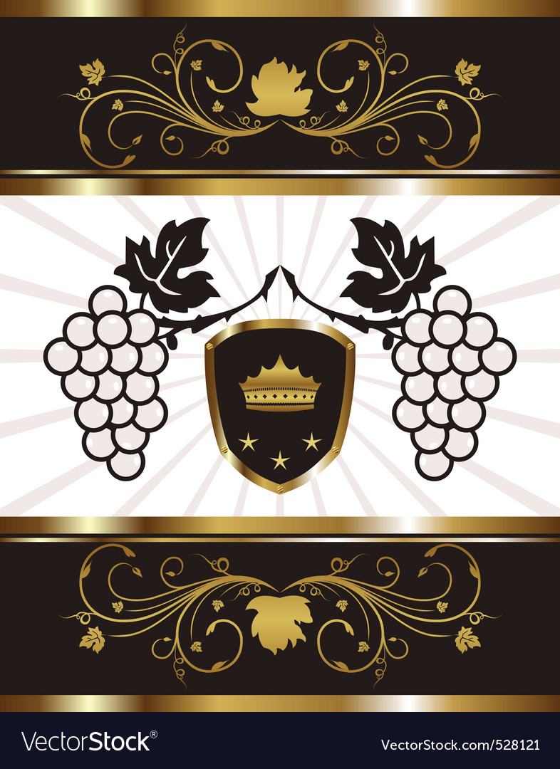 Golden background with grapevine vector | Price: 1 Credit (USD $1)