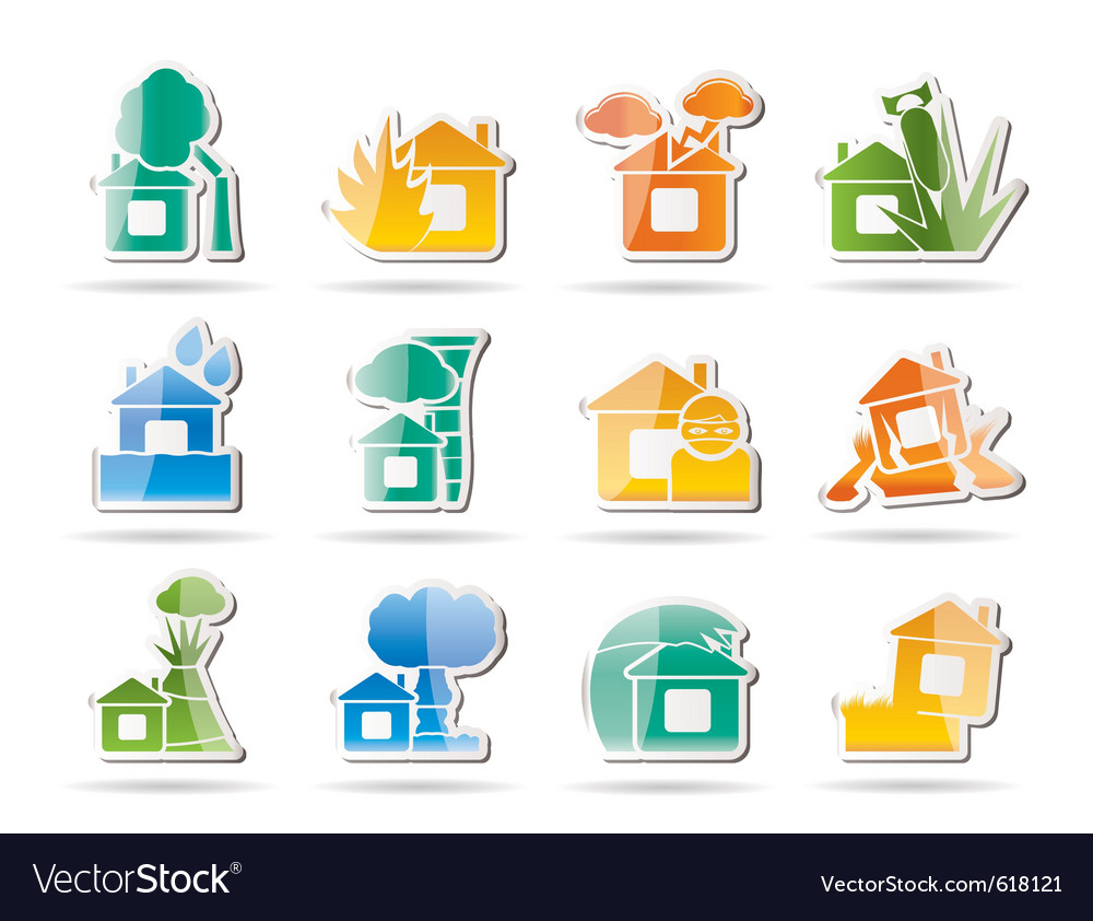 Home and house insurance and risk icons vector | Price: 1 Credit (USD $1)