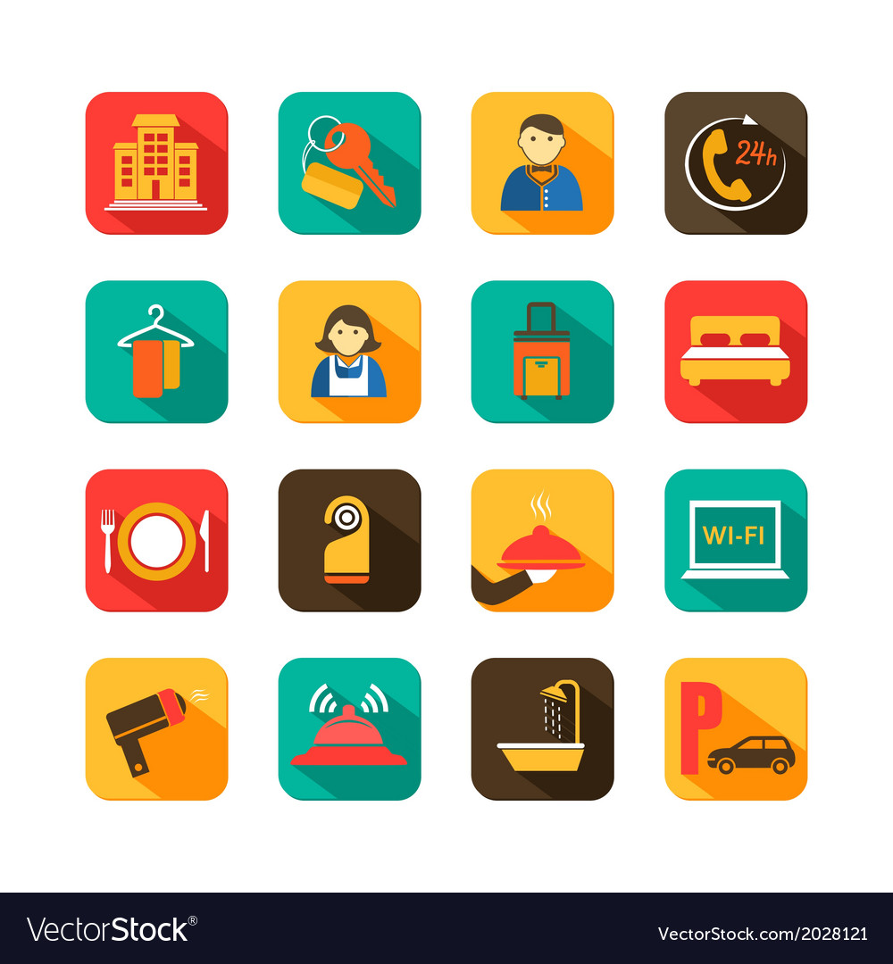 Hotel travel flat icons set vector | Price: 1 Credit (USD $1)