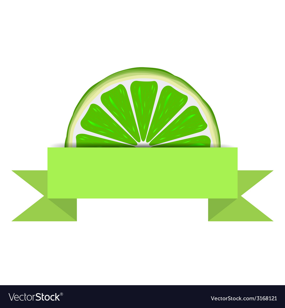 Lime slice with paper banner vector | Price: 1 Credit (USD $1)