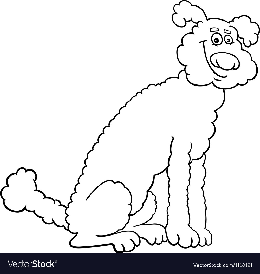 Poodle dog cartoon for coloring book vector | Price: 1 Credit (USD $1)